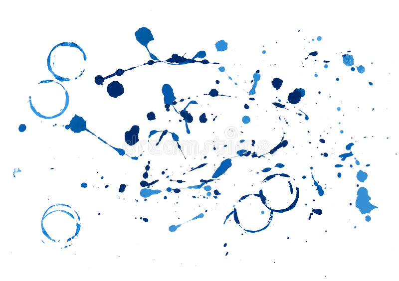 Blue paint splatters royalty free stock photography