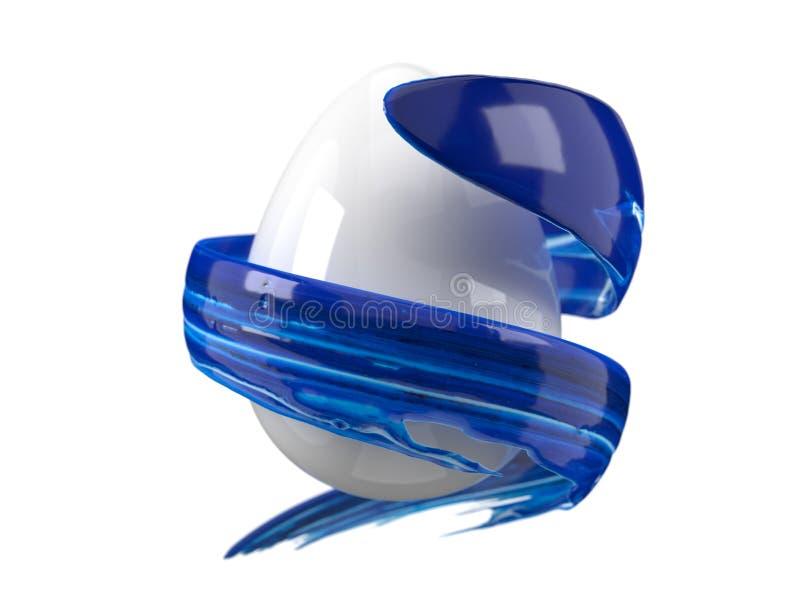 Blue paint stroke flowing around easter egg. 3d illustration. Blue paint stroke flowing around easter egg. suitable for easter, art, media, technology and stock illustration