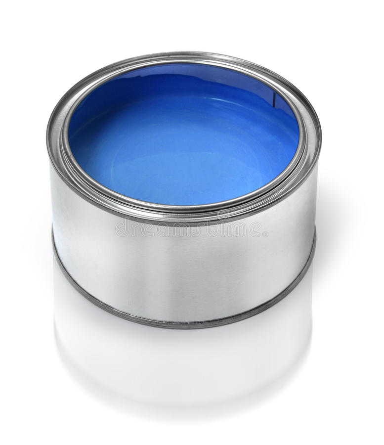 Blue paint tin can stock images