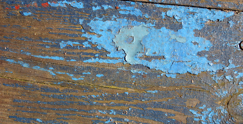 Blue paint on wood stock image
