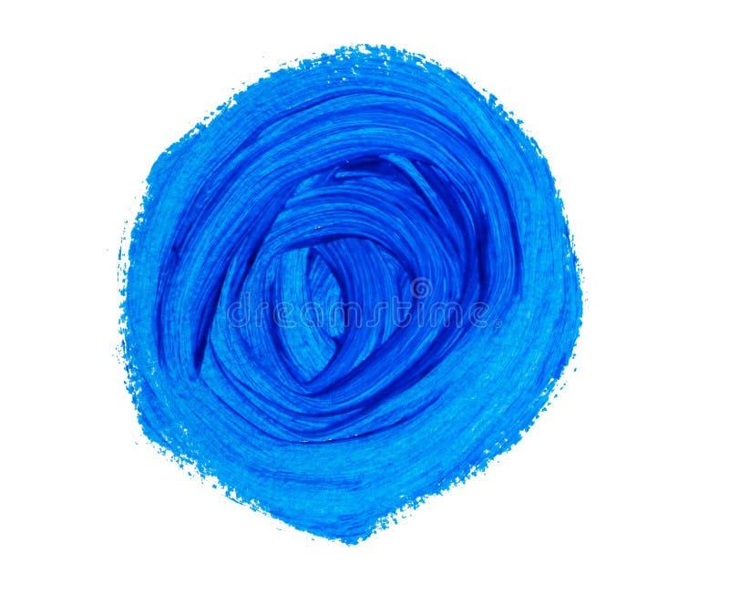Blue painted circle isolated on white background stock illustration