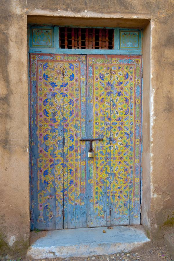 Painted door with colorful oriental pattern, Rabat, Morocco stock photo