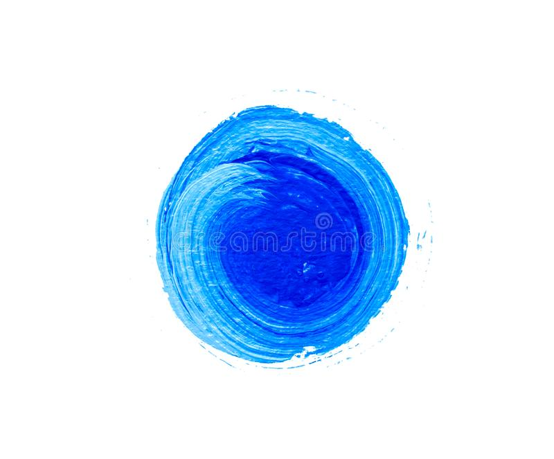 Blue painted isolated circle. Acrylic paint vector illustration