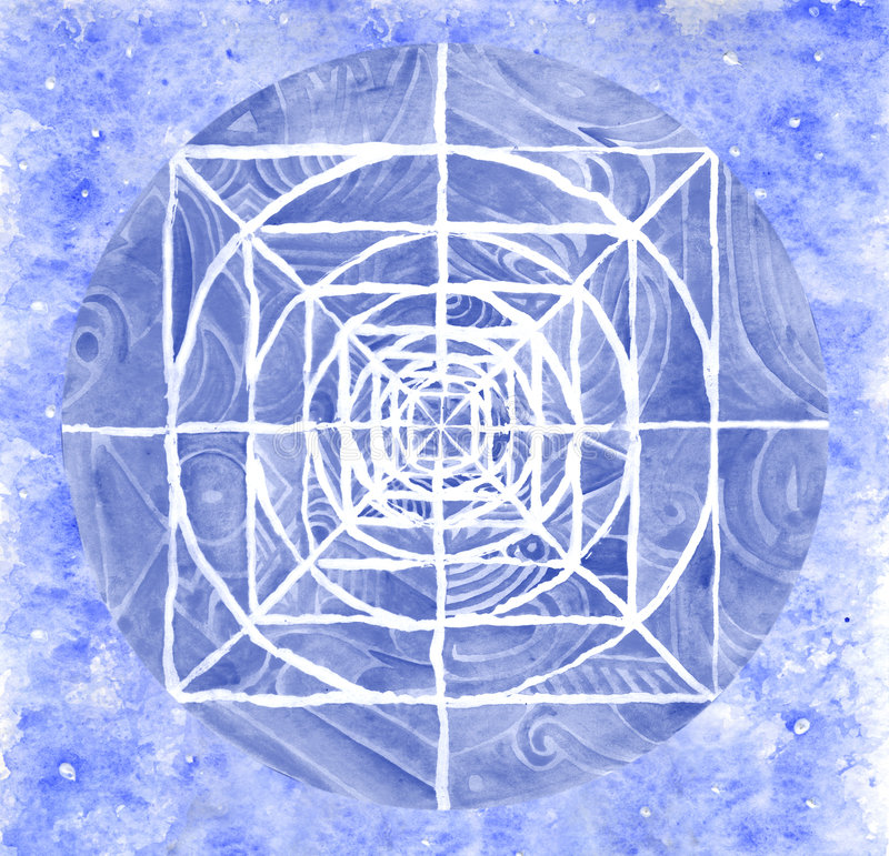 Blue painted mandala artwork. A blue mandala hand painted with watercolors stock illustration