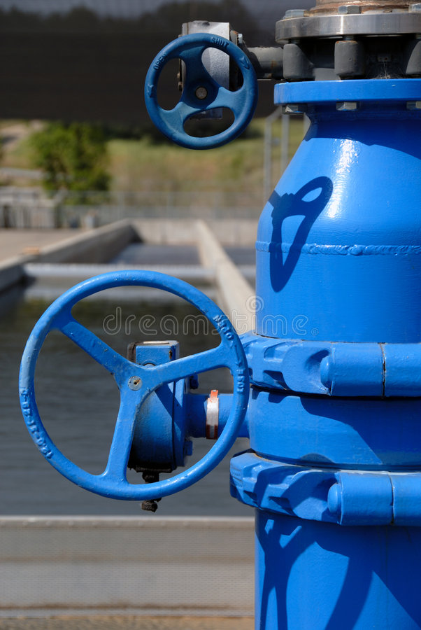 Blue Painted Pipes And Stainless Steel Royalty Free Stock Photo