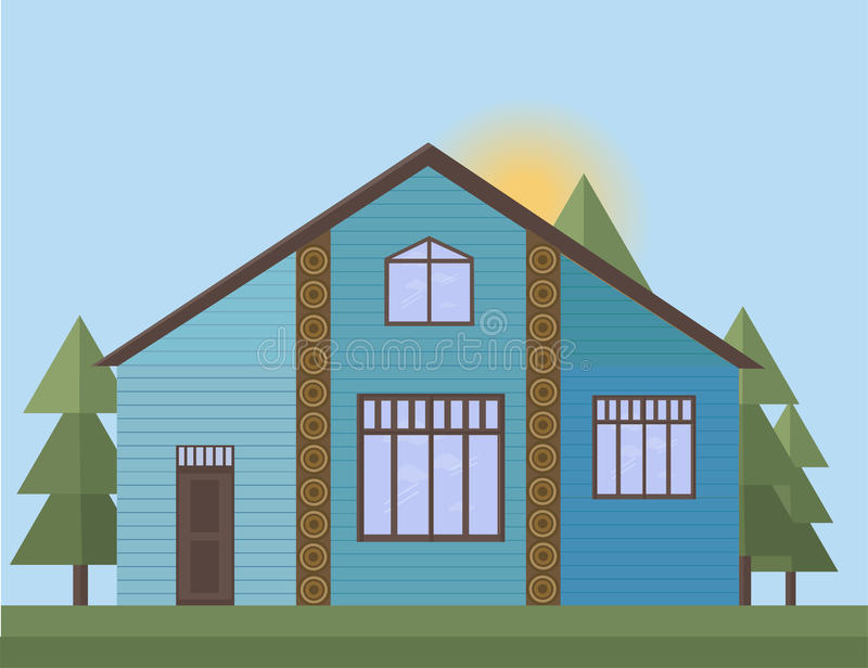 Blue painted Wooden house facade in the forrest. Vector illustration sunset background royalty free illustration
