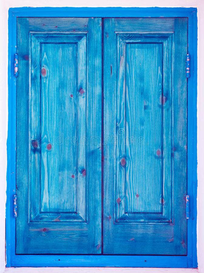 Window With Closed Wooden Painted Blue Shutters Stock