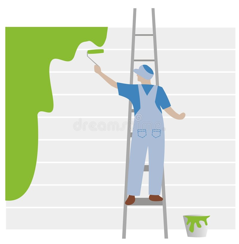 Blue painter on green stock illustration