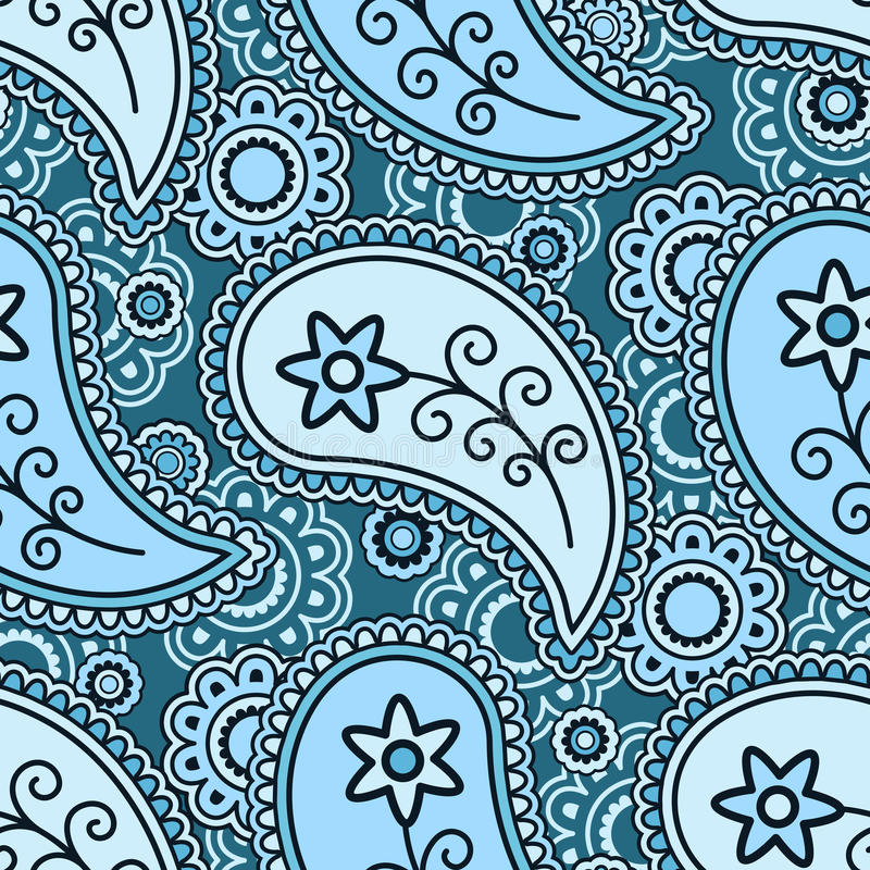 Blue paisley pattern vector illustration