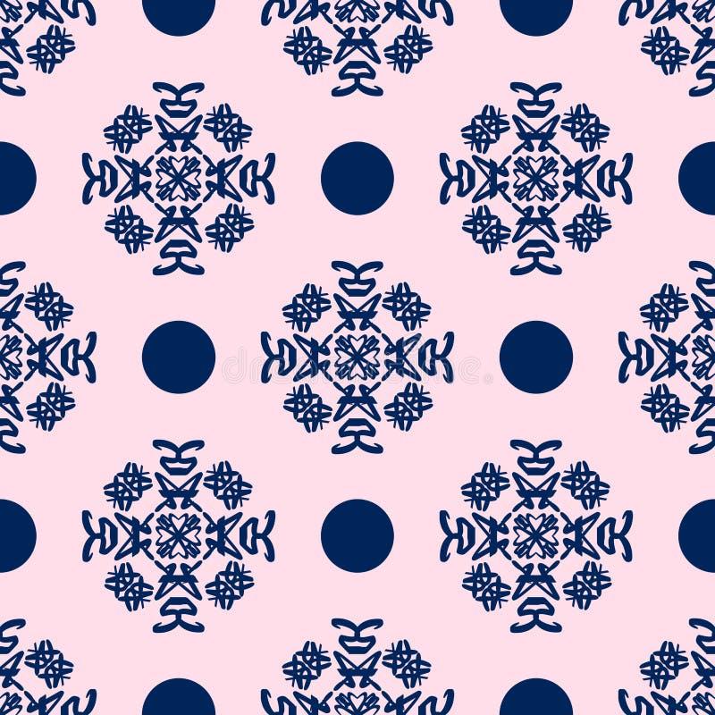 Download Blue And Pale Pink Damask Seamless Pattern Stock Illustration - Image: 19336011