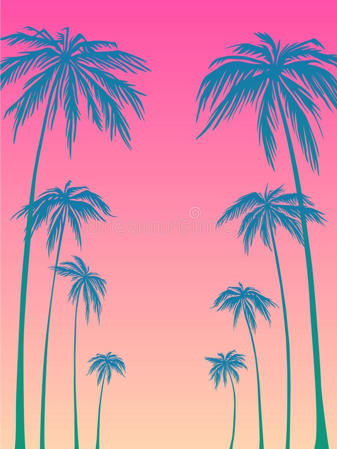 Blue palm trees silhouette on a pink background. Vector illustration, design element for congratulation cards, print royalty free illustration