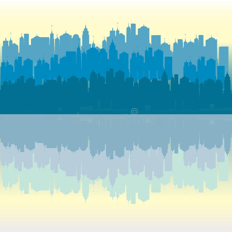Download Blue Panorama Urban City Background Stock Illustration - Illustration of colorful, architecture: 25197425