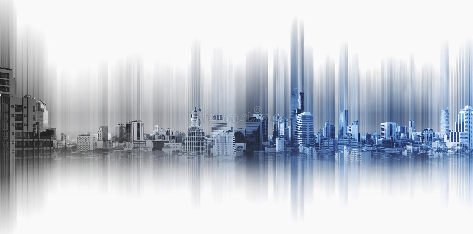 Blue panoramic city with motion graphic, technology city connection stock photography