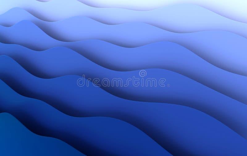 Blue Paper Art Cartoon abstrakte Wellen, Falten Papier Carve Hintergrund Moderne Origami-Designvorlage 3D-Darstellung lizenzfreie abbildung