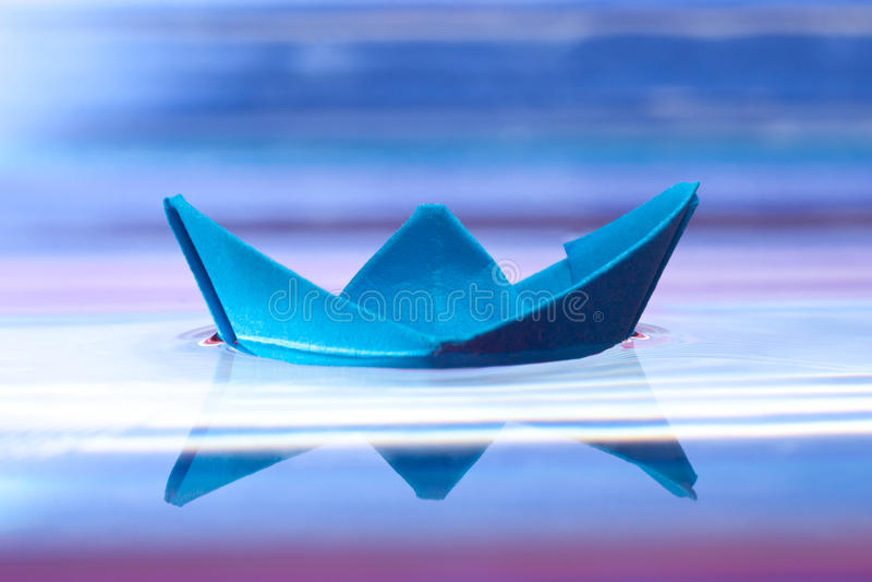 Download Blue paper boat stock image. Image of blue, object, transport - 17656679
