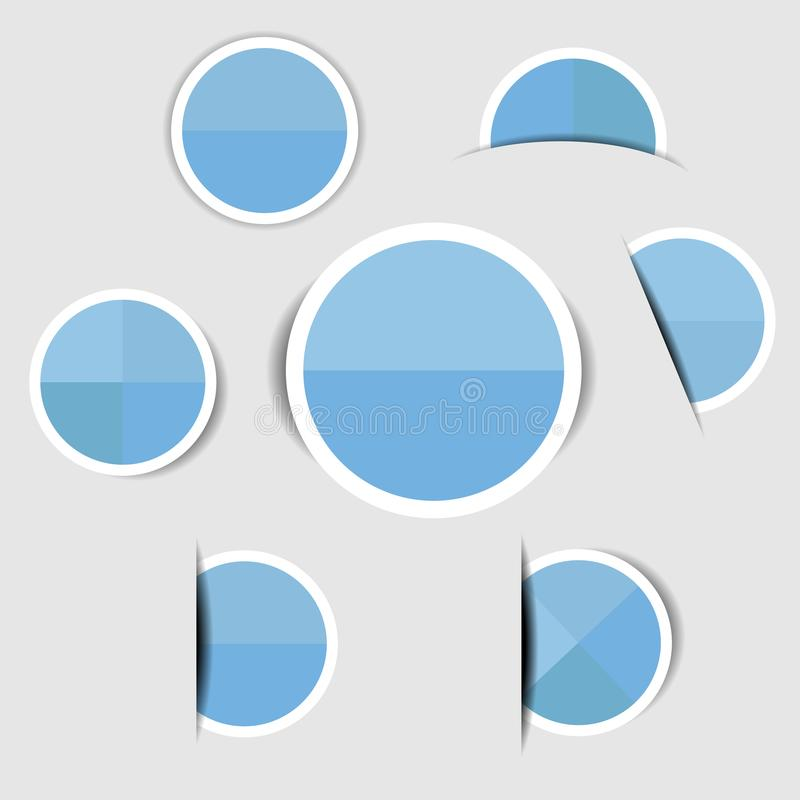 Blue paper circle stickers with shadows stock illustration