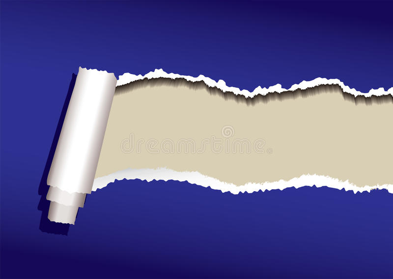 Blue paper curl. Blue paper background with torn edges and roll and shadow stock illustration