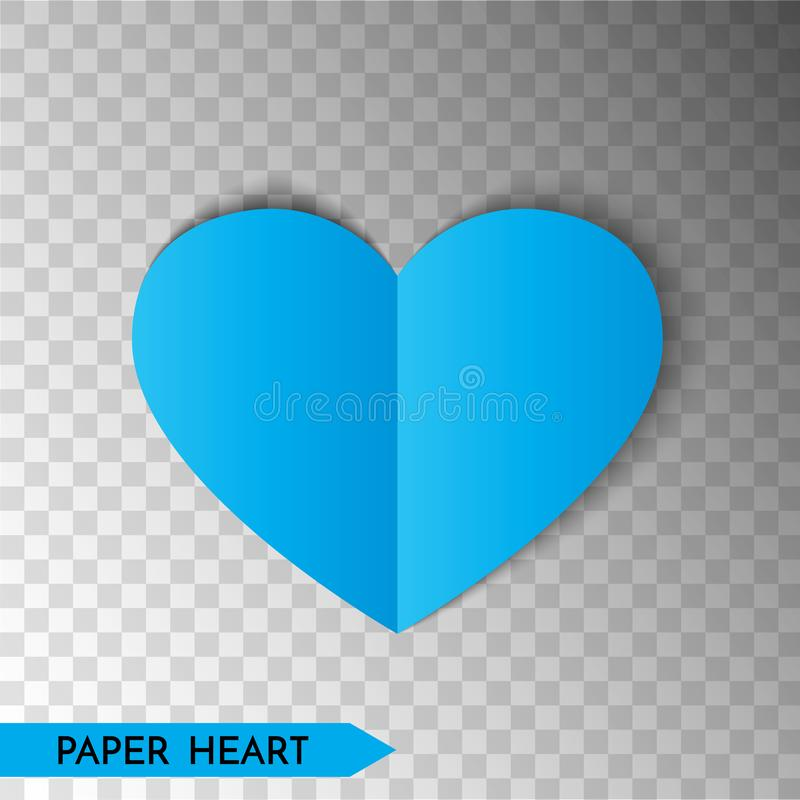 Blue paper heart isolated on transparent background. Heart icon. Symbol of love. Vector illustration vector illustration