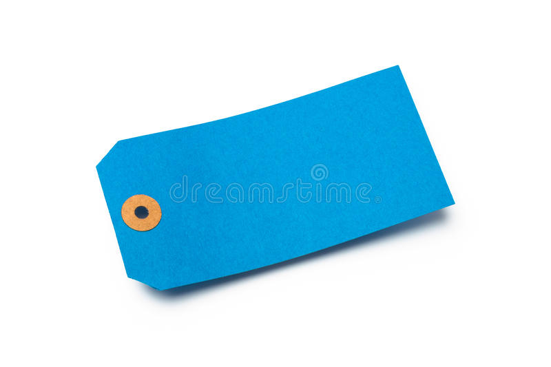 Blue Cardboard Or Paper Luggage Tag  On White Royalty Free Stock Photography