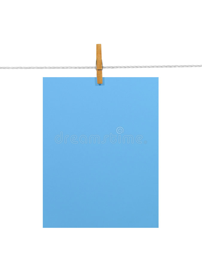 Free Blue Paper On A Clothes Line Stock Images - 2124544