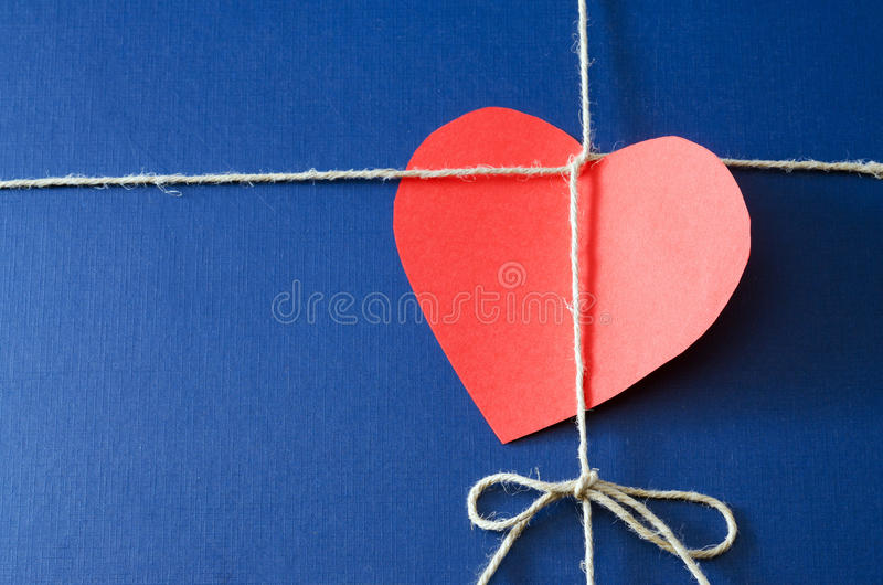 Blue paper package with valentine card stock photos