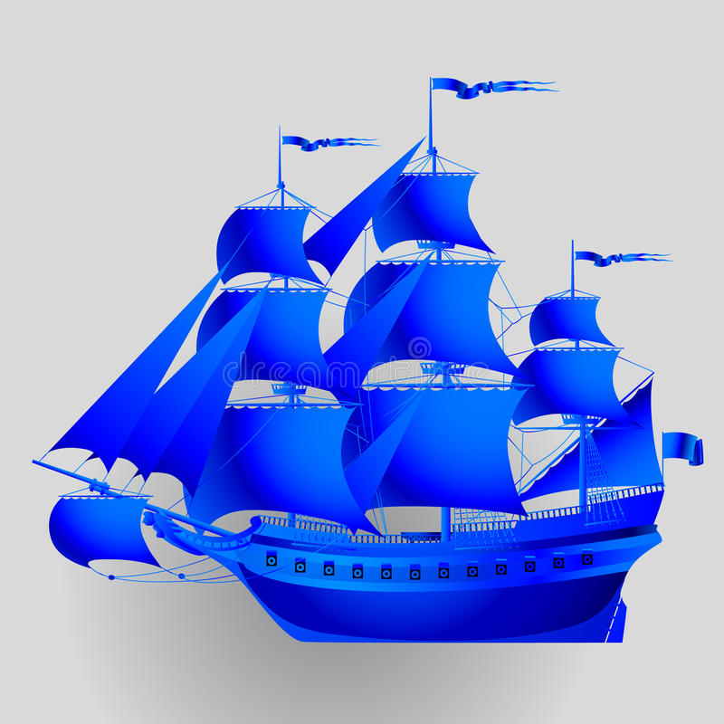 Blue paper sailing ship on gray background stock illustration