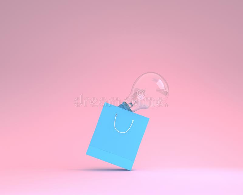 Blue paper shopping bags with incandescent light bulbs on pink c. Olor background. minimal business ideas. concept of retail consumers and shoppers looking for royalty free stock image