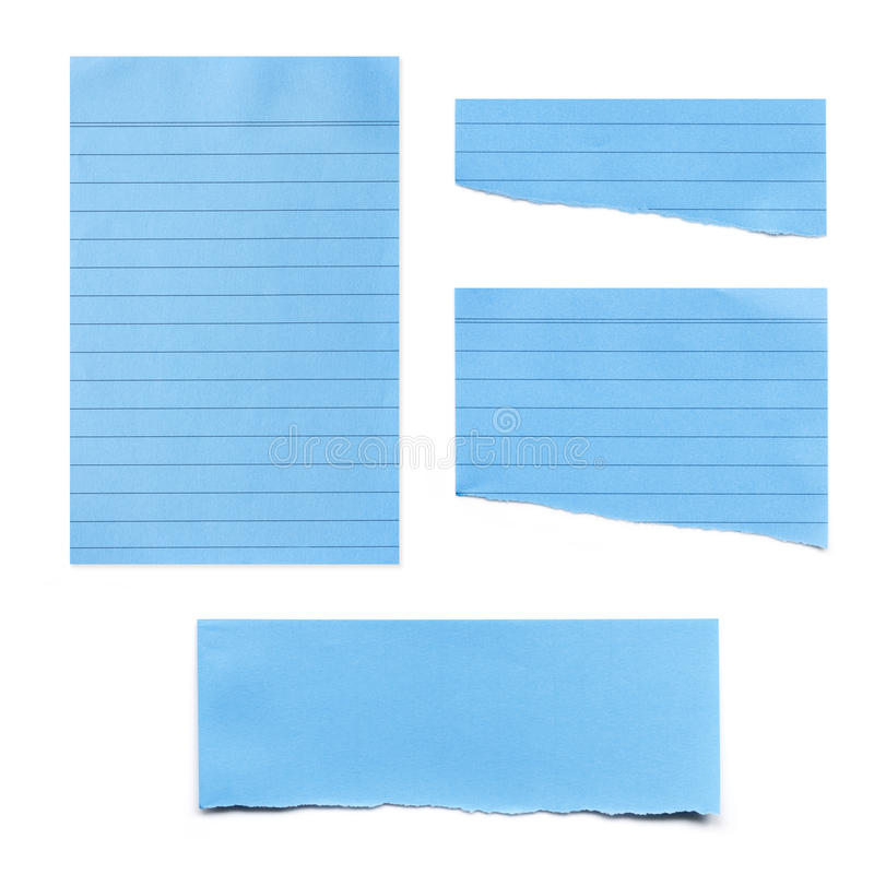 Blue Paper Tears Collection isolated on White.  royalty free stock photos