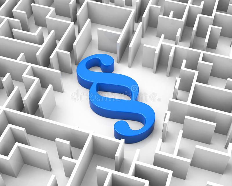 The blue paragraph. 3d generated picture of a blue paragraph inside a maze vector illustration