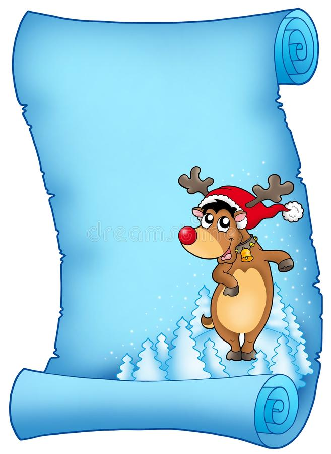 Blue Parchment With Christmas Reindeer Royalty Free Stock Images