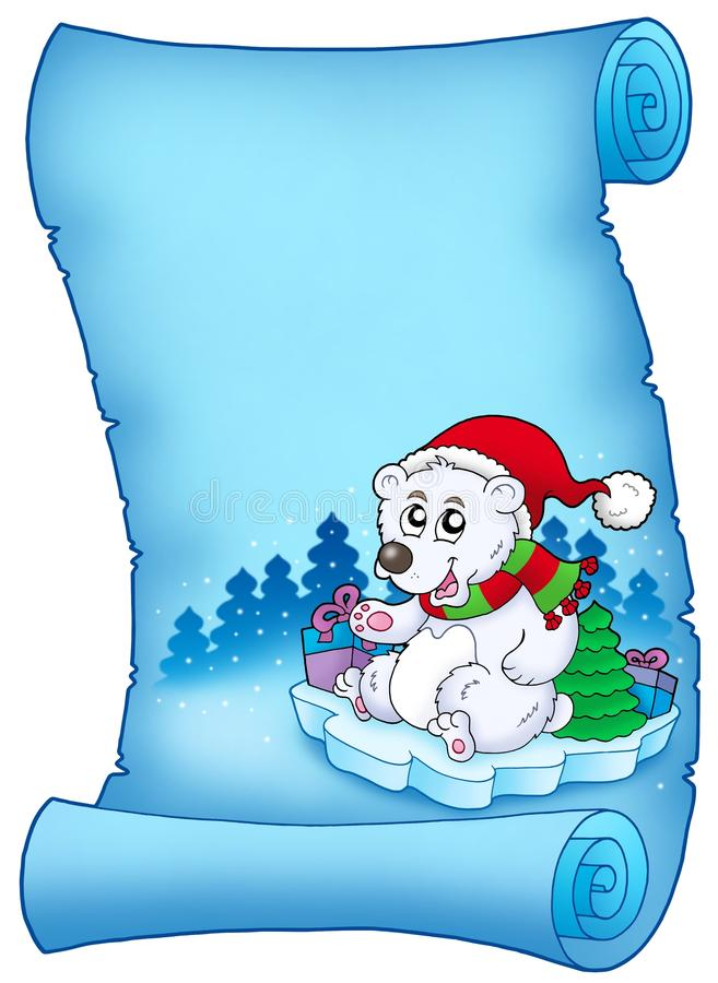 Free Blue Parchment With Christmas Bear Royalty Free Stock Photos - 12212938