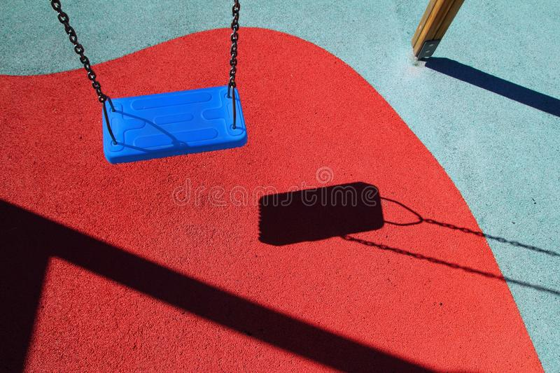 Download Blue Park Swing Or Red Floor Children Playground Stock Photo - Image: 19399244