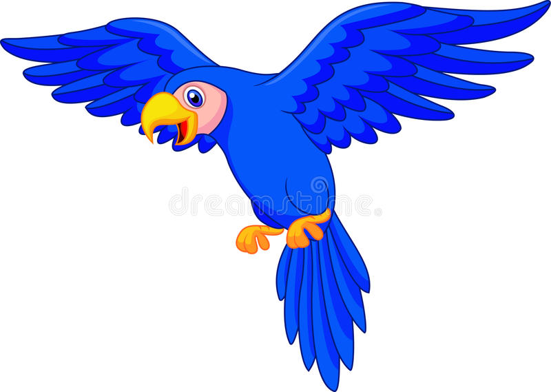 Blue parrot cartoon flying royalty free illustration