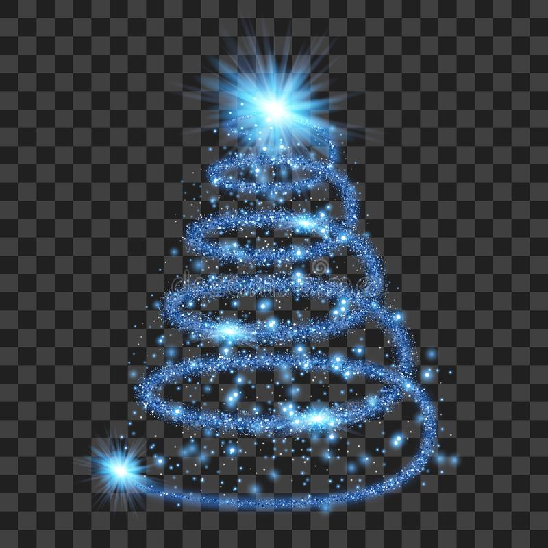 Blue particle wave in form of christmas tree stock illustration