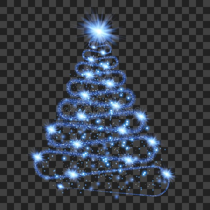 Blue particle wave in form of christmas tree vector illustration