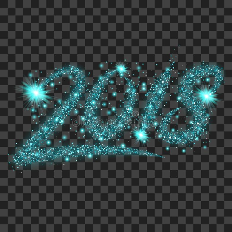 Blue particles wave in form of 2018 digits vector illustration