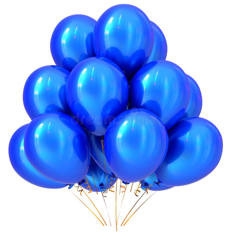 Blue party balloons happy birthday carnival decoration cyan royalty free illustration