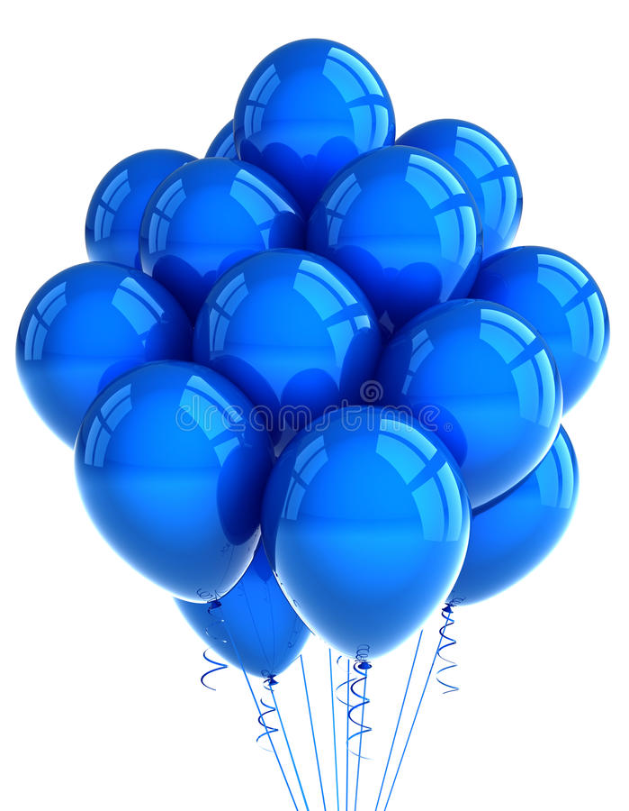 Download Blue party ballooons stock image. Image of blue, bunch - 19816279