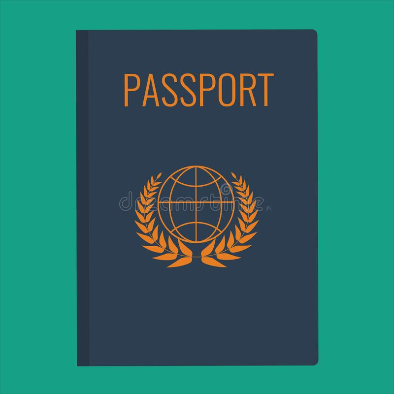 Blue Passport cover vector illustration. Passport cover flat design. stock illustration