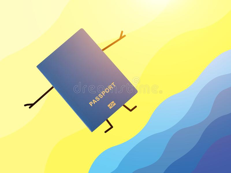Blue passport lying on a hand drawn beach. vector illustration