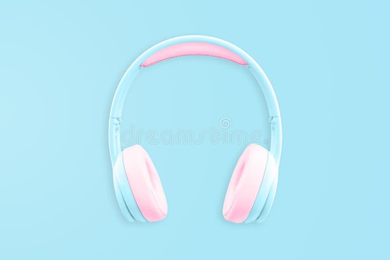 Blue Pastel Headphones royalty free stock photos
