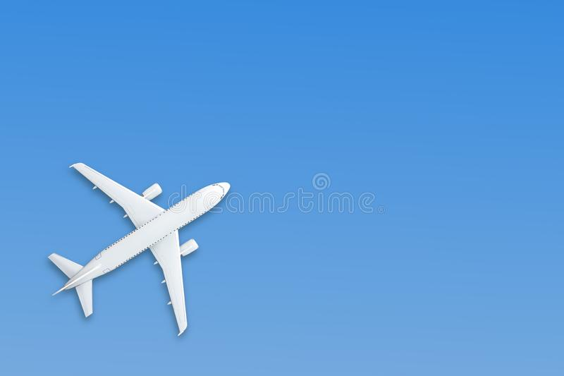 Blue pastel paper airplane on background. Minimal concept.  royalty free stock photography