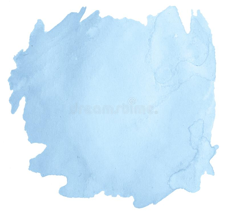 Blue pastel watercolor hand-drawn isolated wash stain stock photo