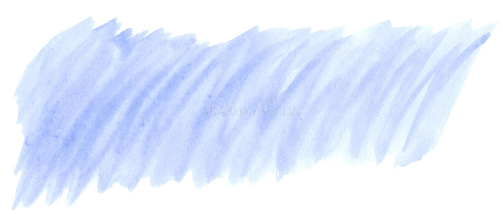 Blue pastel watercolor hand-drawn isolated wash stain on white background/ Abstract texture made by brush for wallpaper, label. Blue pastel watercolor hand-drawn stock illustration