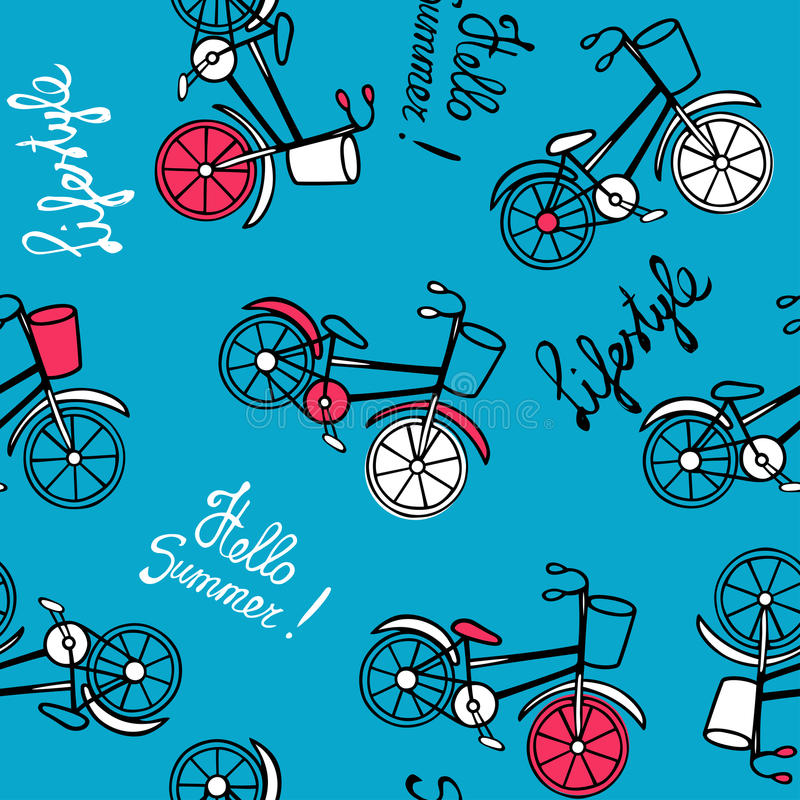 Blue pattern with bicycles. royalty free illustration