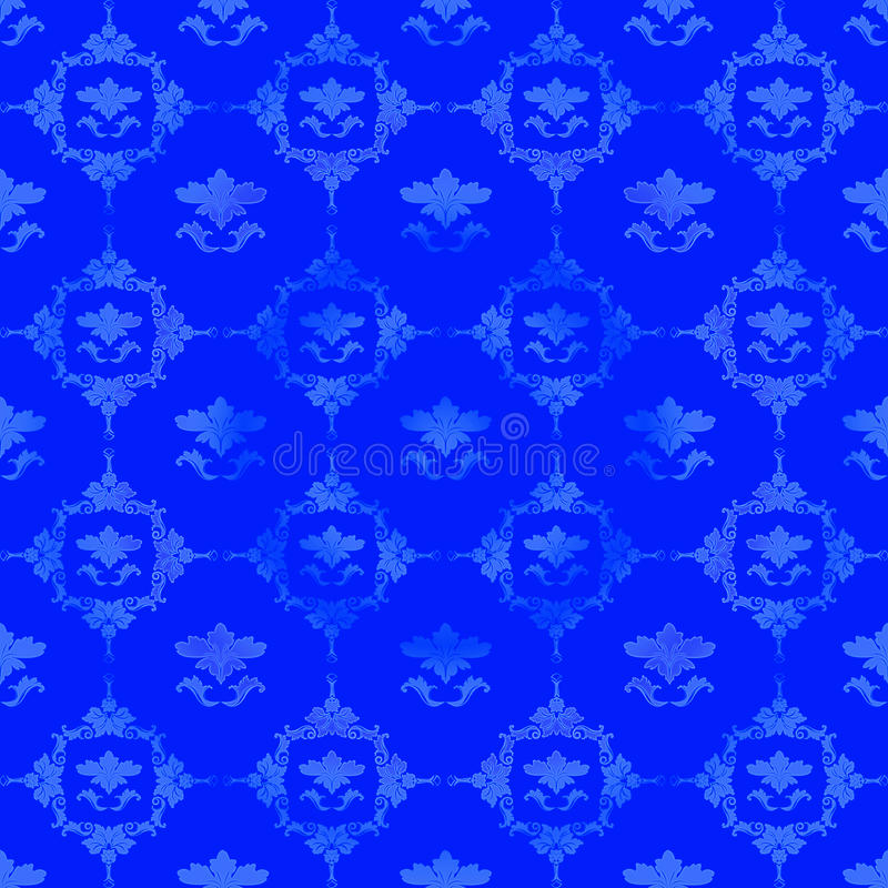 Blue pattern with floral decorations