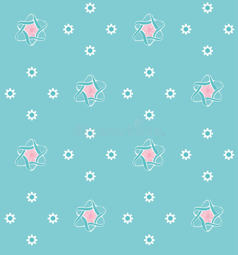 Blue pattern with flowers royalty free stock image