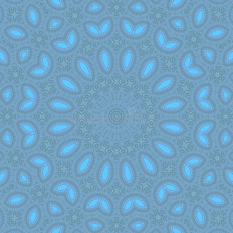 Blue pattern kaleidoscope abstract background. mandala circle royalty free stock image