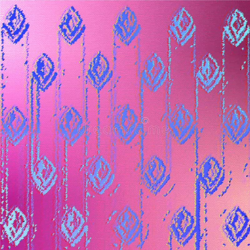 Blue pattern of symbolic image buds of flowers and chains on a purple background. royalty free stock photo