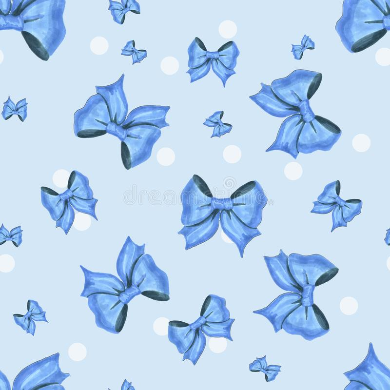 Blue pattern with white dots and bows vector illustration